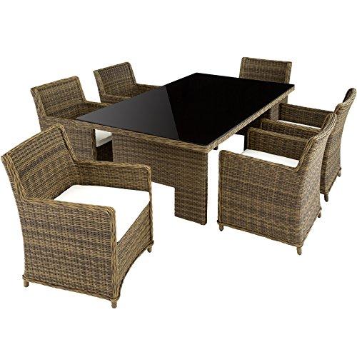 TecTake Hochwertige Luxus Aluminium Poly Rattan Garten Essgruppe rostfrei   6 Stühle + Tisch mit Glasplatte (195x109cm)   natur braun