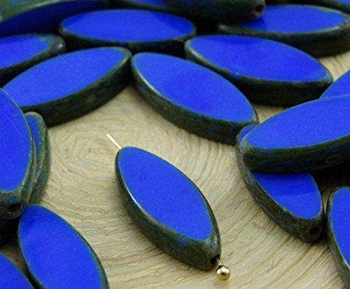 6pcs Picasso Brun Opaque Opaque Medium Dark Bleu Saphir Ovale et Plate de Pétales de Table à la Fenêtre de Coupe tchèque Perles de Verre 18mm x 7mm