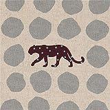 Naturfarbenes Wachstuch mit Leoparden und grauen Punkten