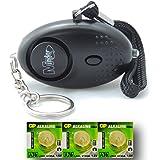 EPOSGEAR Mini Key Ring Persönliche Schlüsselalarm Angriff Rape Alarm 140dB mit Fackel (Schwarz) + Ersatz Batterie-Set