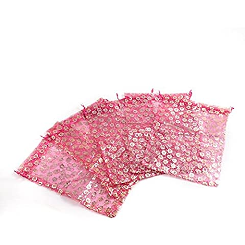 20 sacchetto di organza rosa borsa fiori decorato regalo 18 x 25 centimetri