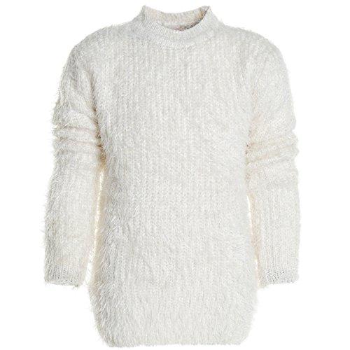 Winter Pullover Strickpullover Mädchen Hoodie Pulli Kinder Sweatjacke 20952, Farbe:Weiß;Größe:164
