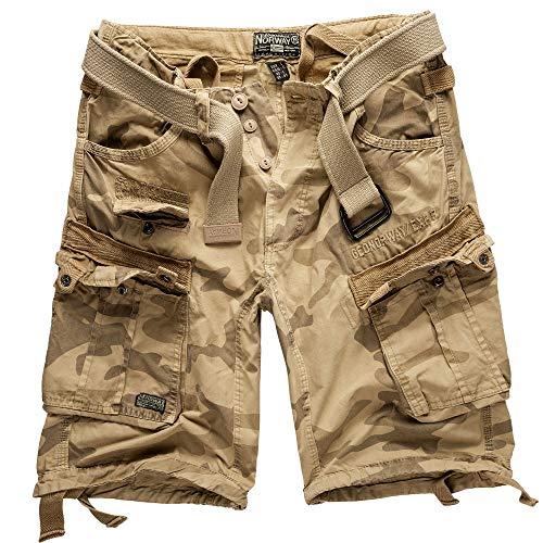 Geographical norway cargo pantaloncini pantaloncini corti bermuda con cintura breve hunter im bundle con ud bandana - beige mimetici, l