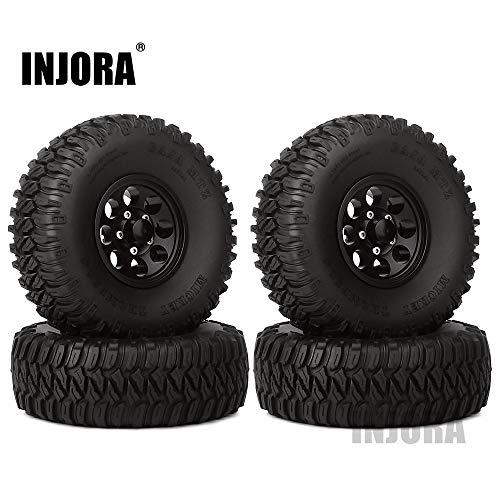 INJORA 1,55 RC Crawler Reifen Set mit Beadlock Felgen 4Pcs Tires mit Räder für 1/10 RC Crawler RC4WD D90 TF2 Tamiya CC01 LC70 LC80 AXIAL AX90069 utv Can-Am MST JIMNY (Schwarz)
