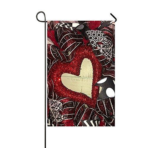 Small Mim Klein MIM Happy Valentine 's Day Sweet Rot Hearts to You Garten Flagge Urlaub Dekoration doppelseitig Flagge 31,8x 45,7cm, Textil, Dark Red Gold Diamond Hearts, 12.5x18 Inch