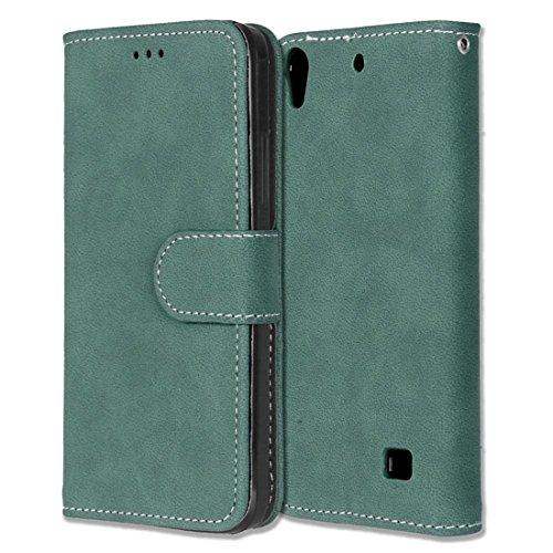 Huawei Ascend G620S Hülle, Chreey Matt Leder Tasche Retro Handyhülle Magnet Flip Case mit Kartenfach Geldbörse Schutzhülle Etui [Grün]
