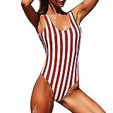 LHWY Bikini Damen Set Frauen Stück Badeanzug Gepolstert Farbstreifen verbunden Gestreift Print Strand Bademode Bade Beachwear Rot (M, Rot)