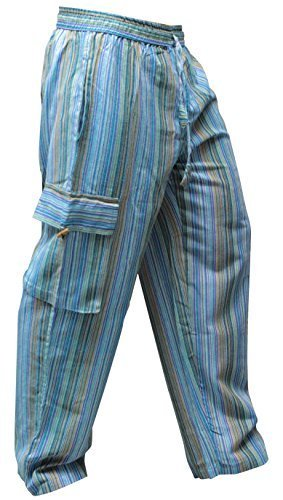 Pantalones Shopoholic Fashion, hippies, de pierna ancha, unisex, bolsillos laterales, diseño de rayas Turquesa Turquise mix M
