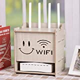 HX home Set-Top-Box Rack Holz Router Aufbewahrungsbox Wifi Plug-in Lagerregal 24cmx17.5cmx21.5cm, Stoffmuster, 24cmx17.5cmx21.5cm