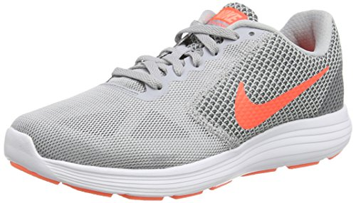 Nike Damen Revolution 3 Laufschuhe, Grau (Wolf Hyper Orange-Cool Grey-Atomic), 40 EU