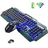 2.4G Set tastiera e mouse da gioco wireless ricaricabile, 3800mAh di grande capacità, plug & play, tastiera impermeabile con retroilluminazione a LED arcobaleno + mouse silenzioso 2400 DPI 7 colori