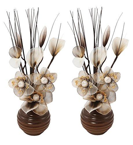 Flourish 813 Mini Articial - Vaso da fiori, colore: verde, 32 cm, 1 paio, Vetro, caffè/panna, 10x10x32 cm - Mini Twig