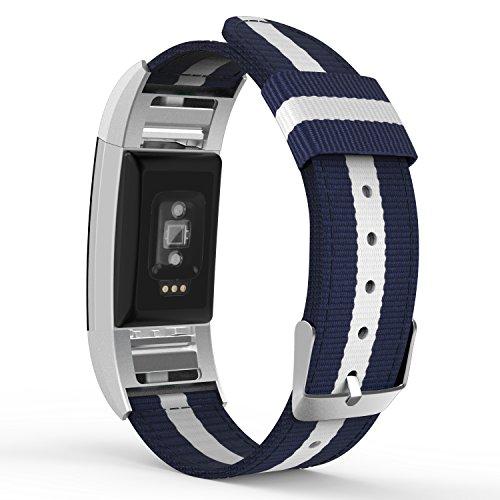 MoKo Armband für Fitbit Charge 2, Nylon Strick Sportarmband Uhrenarmband Uhr Erstatzband mit Schließe für Charge 2 Smartwatch Zur Herzfrequenz und Fitnessaufzeichnung, Blau/Weiß