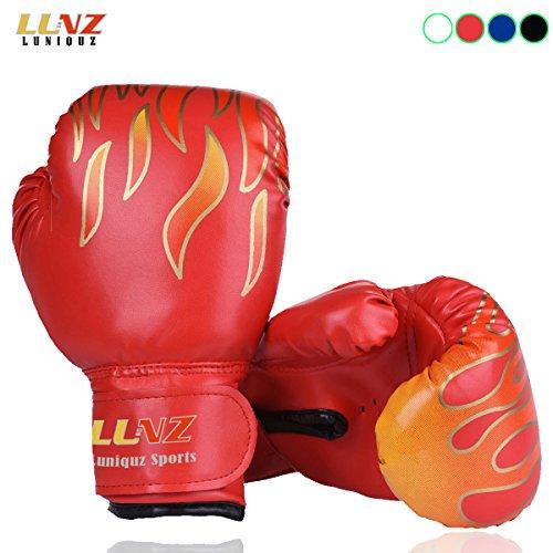 Luniquz Kinder Boxhandschuhe mit Klettschluss Klein Box-Handschuhe für Kinder von 3 - 10 Jahre Training Gloves 6 Unzen zum MMA, Muay Thai, Kickboxen und Sandsack sport - rot