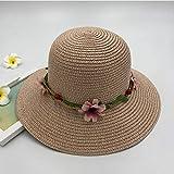 Home+Zl Hatcappello da Sole Estate Signora Fiori Grande Cappello di Paglia Cappello da Spiaggia All'Aperto Sun Visor Sun @ Polvere di Carne (Vaso di Fiori Ed Erba) M (56-58Cm)