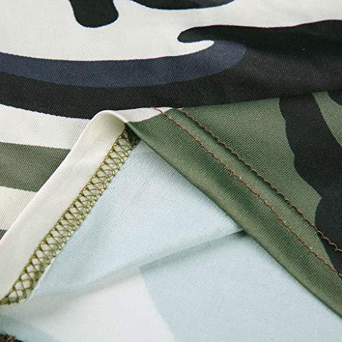 Elsta Sommer Frau Camouflage-Tanktop ohne Ärmel Bustier-BH Bluse T-Shirt mit Weste-Ausschnitt Casual Volltonfarbe Tops Sexy Camisole Tank Tops