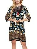 Meaneor Abito Bohemian collare V dress stampato stile etnico Bohemian manica 3/4 Slim