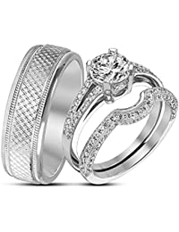 Silvernshine 14k White Gold 925 Silver 1.10 Ct Diamond Bride & Groom Wedding Trio Ring Set