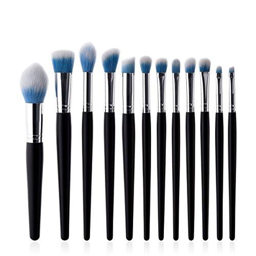 Maquillage Brosse, 12 Pcs / Set Noir Argent Tube Flamme Ombre à Paupières Lèvres Sourcils Fard à Joues Fond de Teint Poudre Ombre à Paupières Contour Concealer Beauté Joue Outil Cosmétique ( Color : Blue White Hair )