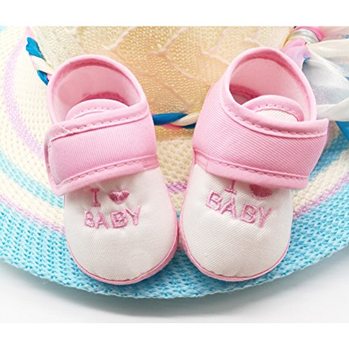 Zhhlinyuan Fashion Baby Girls Boys Shoes Toddler Soft Sole Non-slip Shoes CX009 Pink&White
