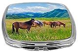 Rikki Knight Compact Mirror, Horses Graz...
