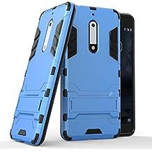 Custodia per Nokia 5, Lifeepro [Stand Function] Morbida Silicone + Plastica Rugged Hybrid Combo Body Armor Ultra Leggera Sottile Shockproof Anti-Graffio Protezione Completa Phone Case per Nokia 5(Blu)