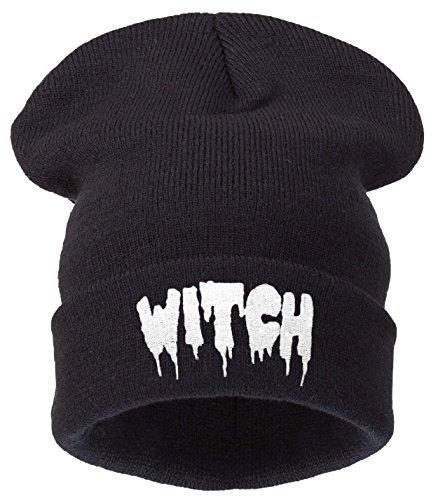 Beanie Hats Damen Strickmütze Schwarz Schwarz - -witch black