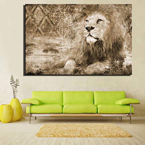 adgkitb canvas Afrikanischer Löwe für Wohnzimmerwand Realismus gelber Abstrakter Löwe, der Hauptdekoration auf Segeltuch 60x90cm KEIN Feld Malt