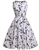 FAIRY COUPLE 50s Vintage Retro Floral Cocktail Swing Party Dress with Bow DRT017(2XL, White-Black Floral)
