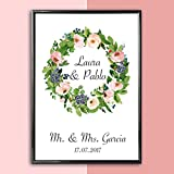 Personalisiertes Bild Blumenkranz Hochzeit | Hochzeitsgeschenk Geschenkidee