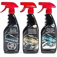 Auto-Pflege-Set von Dunlop, Felgenreiniger, Glasreiniger und Cockpitreiniger Vanille, Pumpflasche, je 500 ml
