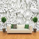 Amazhen Moderne Einfache Abstrakte Kunst Tapete 3D Weiß Blätter Muster Gips Wandbild Wohnzimmer TV Sofa Hintergrund Wand 3D Wohnkultur,275cm*252cm