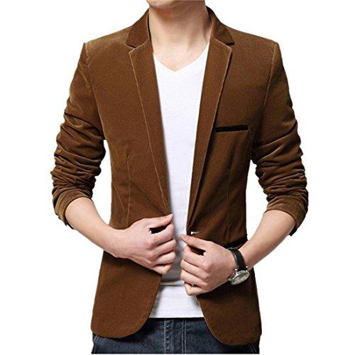 Dihope Herren Velour Blazer Anzug Jacken Freizeit Mantel Hochzeit Party Anzugjacken (Polyester-freizeit-anzug-jacke)
