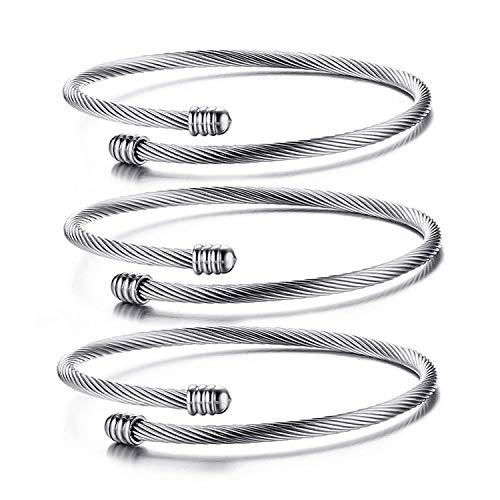PJ JEWELRY Mode Edelstahl Triple Drei Stapelbare Kabel Draht Verdrehte Manschette Armreif Armbänder Set für Frauen