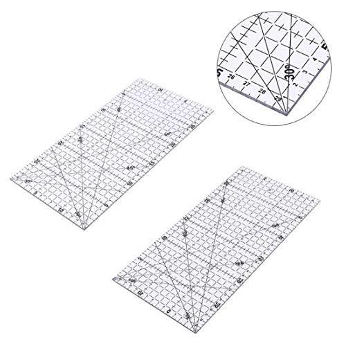 Zerkosvort 1 STÜCK 15x30 cm Multifunktions Transparent Nähen Patchwork Lineal Raster Schneiden Handwerk Skala Regel Zeichenwerkzeuge Lineal
