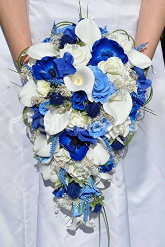 Striking artificiale Anemone blu, cardo e ortensia bridal bouquet con calle e rose avorio - Anemone Bouquet Da Sposa