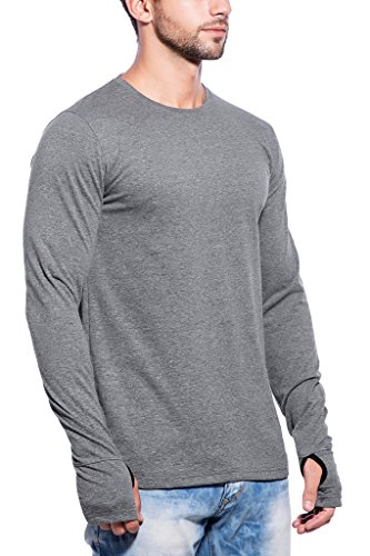 31fad62ab5b Maniac Mens Fullsleeve Round Neck Dark Grey Cotton Tshirt