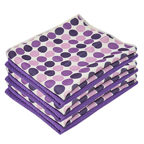 Xelay Microfibre Kitchen Tea Towels Super Absorbent and Thick Dish Towels Multipurpose Drying, Cleaning Cloth 40x47cm (Purple Polka Dot, Pack of 2)