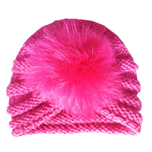 Einfach Kostüm Indischen - Lyguy, Babymütze, Wollmütze, für Neugeborene, Kopfbedeckung, Beanie, gestrickt, gehäkelt, Fellball-Dekoration, Requisiten, warm, indisch, niedliches Fotografie-Kostüm für Jungen und Mädchen - hot pink
