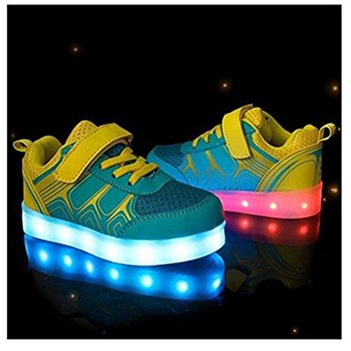 (Present:kleines Handtuch)JUNGLEST® Kinder Jungen M?dchen Bunte LED Leuchtet Sportschuhe Sneakers Athletische Blau