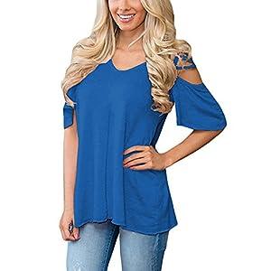 Lylafairy Damen Trägerlos Sommer Shirt V Ausschnitt Kurzarm Bluse Oberteil Tops
