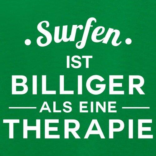 Surfen ist billiger als eine Therapie - Damen T-Shirt - 14 Farben Grün