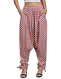 The Gud Look Women's White Treditional Print Harem Pant