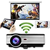 Eug 4000 Lumen LED LCD Android projecteur sans fil Wi-Fi Home Theater 1080p soutien HDMI Cable pour lecteur DVD iPad ordinateur portable téléphone portable, jeux vidéo de divertissement en plein air(Fiche britannique, manuel en anglais)