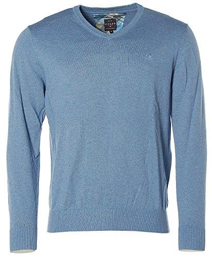 Kitaro Herren Pullover Strick V-Ausschnitt Brilliant Cotton Faded Blue