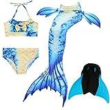 Das beste Mädchen Bikini Badeanzüge Schönere Meerjungfrauenschwanz Zum Schwimmen mit Meerjungfrau Flosse Schwimmen Kostüm Schwanzflosse - Ein Mädchentraum- Gr. 110, Farbe: A04