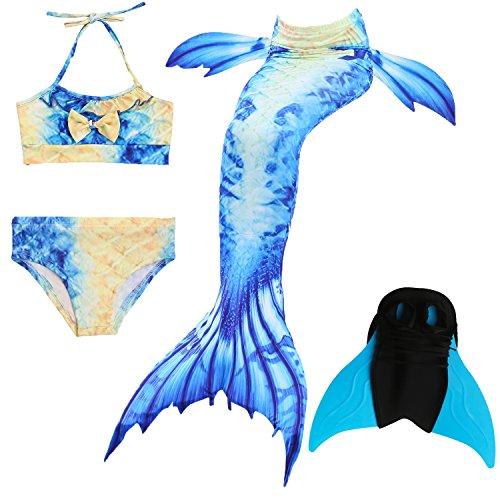 Das beste Mädchen Bikini Badeanzüge Schönere Meerjungfrauenschwanz Zum Schwimmen mit Meerjungfrau Flosse Schwimmen Kostüm Schwanzflosse - Ein Mädchentraum- Gr. 150, Farbe: A04