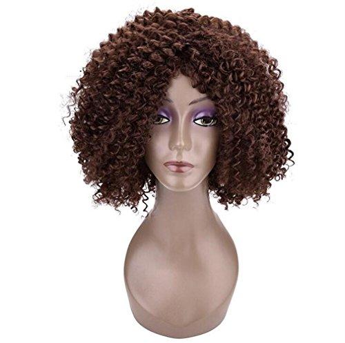 (LUCKY-U 2017 Fashion New Series- Braun Perücken für Damen Synthetik Wellig Haar Kurz Lockig Hitzebeständige Perücke mit Mittelteil)