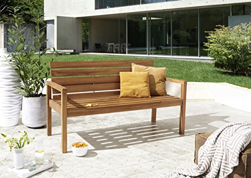 SAM® Teak-Holz Gartenbank mit Rückenlehne, massive Sitzbank für bis zu 3 Personen, ideal für Garten Terrasse Balkon oder Wintergarten, ca. 155 x 65 cm [521214] - 2