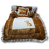 Pinks & Blues New Born Baby full sleeping bedding set with 2 side pillows in a shape of puppies. 0 - 30 months (CAMEL OFFWHITE)